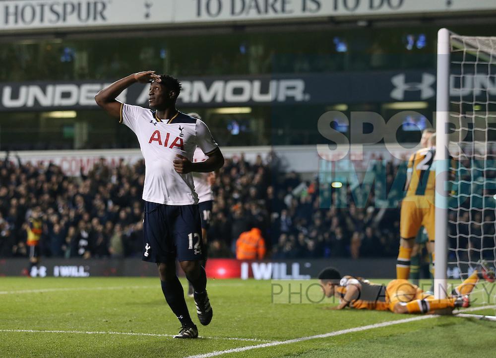 Tottenham's Victor Wanyama celebrates scoring his sides third goal during the Premier League match at White Hart Lane Stadium, London. Picture date December 14th, 2016 Pic David Klein/Sportimage