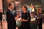 WILLIAM HANSON; ANDREA BUBEUX WEBB, Hubert de Vinols hosts the launch of Tables D'Exception, Rolls Royce Showroom,  Berkeley Sq. London. 29 November 2018