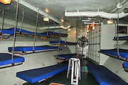 Israel, Haifa, The Clandestine Immigration and Navy Museum Interior of the Israeli Navy Missile boat INS Mivtach Crew sleeping bunks