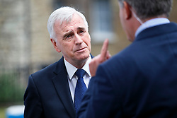 © Licensed to London News Pictures. 26/06/2016. London, UK. Shadow Chancellor JOHN MCDONNELL arrives at College Green outside the Parliament in London for TV interviews on 26 June 2016. Photo credit: Tolga Akmen/LNP