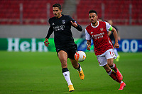 PIRAEUS, GREECE - FEBRUARY 25: Lucas Verissimo of SL Benfica and Pierre-Emerick Aubameyang of Arsenal FC during the UEFA Europa League Round of 32 match between Arsenal FC and SL Benfica at Karaiskakis Stadium on February 25, 2021 in Piraeus, Greece.(Photo by MB Media)