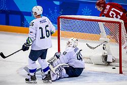 16-02-2018 KOR: Olympic Games day 7, PyeongChang<br /> Ice Hockey Russia (OAR) - Slovenia / Goal....forward Sergei Kalinin #21 of Olympic Athlete from Russia, goaltender Luka Gracnar #40 of Slovenia, forward Ales Music #16 of Slovenia