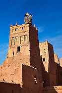 Stork nesting on the Glaoui Kasbah's of Tamedaght in the Ounilla valley set surrounded by the hammada (stoney) desert in the foothills of the Altas mountains, Tamedaght, Morroco. .<br /> <br /> Visit our MOROCCO HISTORIC PLAXES PHOTO COLLECTIONS for more   photos  to download or buy as prints https://funkystock.photoshelter.com/gallery-collection/Morocco-Pictures-Photos-and-Images/C0000ds6t1_cvhPo<br /> .<br /> <br /> Visit our ISLAMIC HISTORICAL PLACES PHOTO COLLECTIONS for more photos to download or buy as wall art prints https://funkystock.photoshelter.com/gallery-collection/Islam-Islamic-Historic-Places-Architecture-Pictures-Images-of/C0000n7SGOHt9XWI
