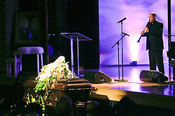 20 November 2015. Orpheum Theater, New Orleans, Louisiana. <br /> Memorial service for musician Allen Toussaint. <br /> Brian 'Breeze' Calloye performs on stage.<br /> Photo; Charlie Varley/varleypix.com