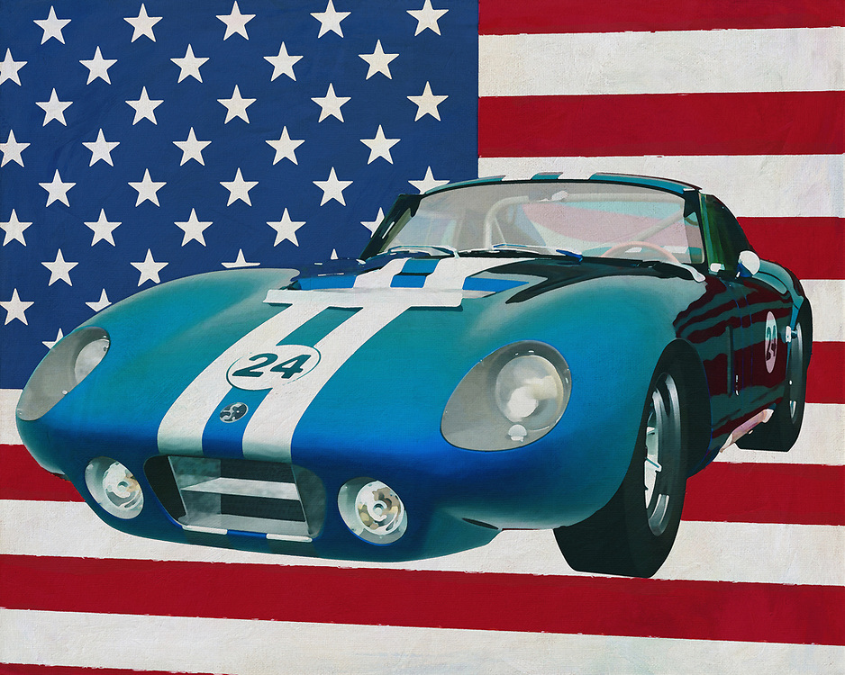 Everyone knows the Daytona race track where legendary races have taken place and every car enthusiast associates the track with the equally famous 1965 Shelby Daytona. The designer and carmaker has a lot on his record, but this Shelby Daytona is far from being the most iconic American car ever produced.<br /> <br /> This painting of the Shelby Daytona , built in 1965, with the American flag in the background can be purchased in various sizes and printed on canvas as well as wood and metal. You can also have the painting finished with an acrylic plate over it which gives it more depth. -<br /> -<br /> BUY THIS PRINT AT<br /> <br /> FINE ART AMERICA<br /> ENGLISH<br /> https://janke.pixels.com/featured/shelby-daytona-1965-with-flag-of-the-usa-jan-keteleer.html<br /> <br /> <br /> WADM / OH MY PRINTS<br /> DUTCH / FRENCH / GERMAN<br /> https://www.werkaandemuur.nl/nl/shopwerk/Shelby-Daytona-1965-met-de-vlag-van-de-V-S-/665496/132?mediumId=1