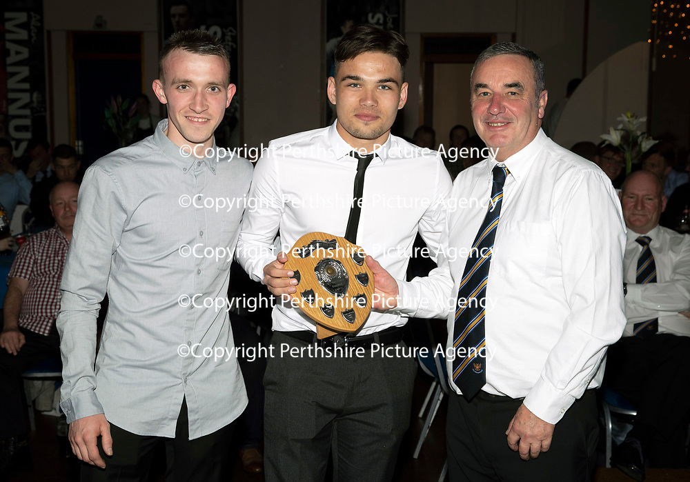 St Johnstone FC Player of the Year Awards 2017-18<br />Barossa Street Supporters Club Young Player of the Year is Aaron Comrie presented by Lee Robertson (left) and Billy Feanders<br />Picture by Graeme Hart.<br />Copyright Perthshire Picture Agency<br />Tel: 01738 623350  Mobile: 07990 594431