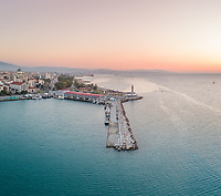 Panoramic view of beautiful sunset at marina in Patras, Greece
