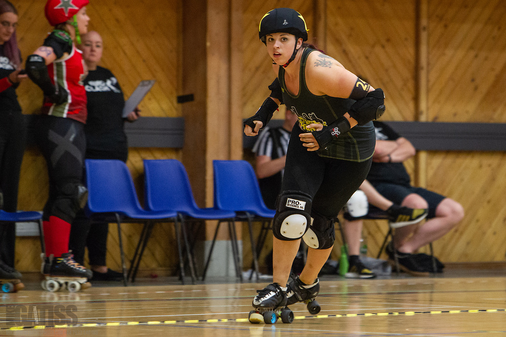Birmingham Blitz Dames take on  Steel City Roller Derby's Steel Hurtin' in Euro Clash 2018 at the Walker Activity Dome, Newcastle Upon Tyne, United Kingdom, 2018-05-19
