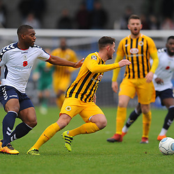TELFORD COPYRIGHT MIKE SHERIDAN 10/11/2018 - Andre Brown of AFC Telford closes down Ben Middleton of Boston during the Vanarama Conference North fixture between AFC Telford United and Boston United.