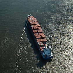 Aerial view of Independent Voyager, Shipping Traffic Along the Delaware River, outside of Philadelphia