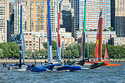 Five SailGP F50 line up for the start of race three. Race Day 1 Event 3 Season 1 SailGP event in New York City, New York, United States. 21 June 2019. Photo: Chris Cameron for SailGP. Handout image supplied by SailGP