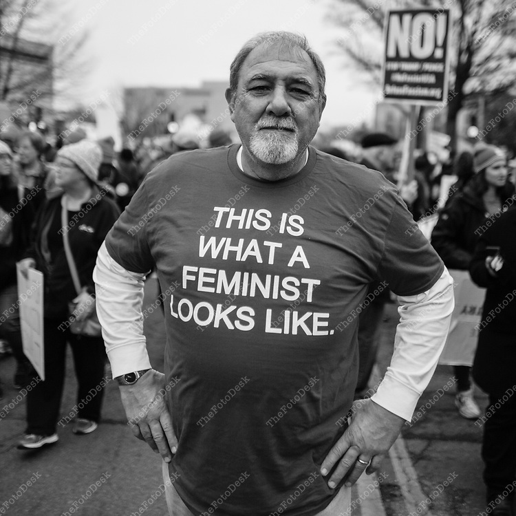 WASHINGTON, DC - JANUARY 21:  Pat Lindelow of Pittsburgh, PA appears during the Women's March on Washington in Washington, DC January 21, 2017. Lindelow came to the march in solidarity for his wife, three daughters and six grand daughters. (Photo by Brian Branch Price)