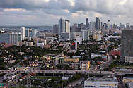 Aerial view of downtown Miami as seen from 36th Street south showing NE 2nd Avenue urban corridor and Biscayne Blvd. looking south.