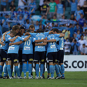 Sydney FC players in a huddle before the start of play during the Sydney FC V Central Coast Mariners A-League match at the Sydney Football Stadium, Sydney, Australia, 23 December 2009. Photo Tim Clayton