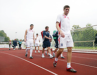 Photo: Chris Ratcliffe.<br />England Training Session. FIFA World Cup 2006. 28/06/2006.<br />Steven Gerrard arrives for training.