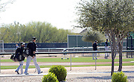 GLENDALE, AZ - FEBRUARY 25:  Members of the Chicago White Sox walk to the practice field during spring training workouts on February 25, 2015 at The Ballpark at Camelback Ranch in Glendale, Arizona. (Photo by Ron Vesely)
