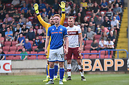 Rochdale Midfielder, Callum Camps (10), Bradford City forward Charlie Wyke (9)  and Rochdale Goalkeeper, Josh Lillis (1)  during the EFL Sky Bet League 1 match between Rochdale and Bradford City at Spotland, Rochdale, England on 21 April 2018. Picture by Mark Pollitt.