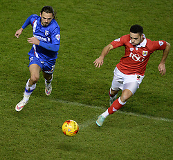 Gillingham's Bradley Dack and Bristol City's Derrick Williams chase down the ball. - Photo mandatory by-line: Alex James/JMP - Mobile: 07966 386802 - 29/01/2015 - SPORT - Football - Bristol - Ashton Gate - Bristol City v Gillingham - Johnstone Paint Trophy Southern area final