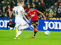 Football - 2017 / 2017 EFL (League) Cup - Fourth Round: Swansea City vs. Manchester United<br /> <br /> Jesse Lingard of Manchester United scores his team's first goal at The Liberty Stadium.<br /> <br /> COLORSPORT/WINSTON BYNORTH