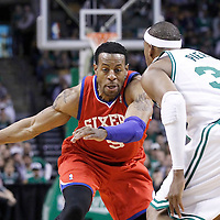 21 May 2012: Philadelphia Sixers small forward Andre Iguodala (9) drives past Boston Celtics small forward Paul Pierce (34) during the Boston Celtics 101-85 victory over the Philadelphia Sixer, in Game 5 of the Eastern Conference semifinals playoff series, at the TD Banknorth Garden, Boston, Massachusetts, USA.