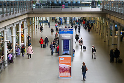 © Licensed to London News Pictures. 13/03/2020. London, UK. Less busy St Pancras International amid an increased number of Coronavirus (COVID-19) cases in the UK. 798 cases have been tested positive and ten patients have died from the virus in the UK. Photo credit: Dinendra Haria/LNP