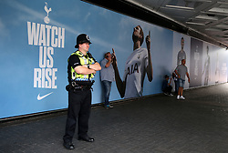 Police presence on Wembley Way ahead of the Premier League match at Wembley Stadium, London.