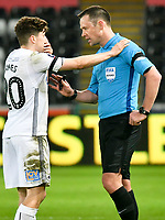 Football - 2018 / 2019 Emirates FA Cup - Fifth Round: Swansea City vs. Brentford<br /> <br /> referee Stuart Attwell speaks to Daniel James of Swansea City , at Liberty Stadium.<br /> <br /> COLORSPORT/WINSTON BYNORTH