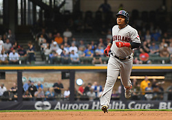 May 8, 2018 - Milwaukee, WI, U.S. - MILWAUKEE, WI - MAY 08: Cleveland Indians Third base Jose Ramirez (11) rounds the bases after hitting a solo home run in the top of the 3rd during a MLB game between the Milwaukee Brewers and Cleveland Indians on May 8, 2018 at Miller Park in Milwaukee, WI. The Brewers defeated the Indians 3-2.(Photo by Nick Wosika/Icon Sportswire) (Credit Image: © Nick Wosika/Icon SMI via ZUMA Press)