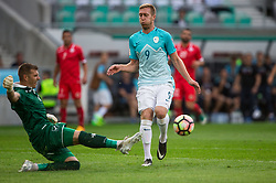 Andrew Hogg of Malta vs Robert Beric of Slovenia during football match between National teams of Slovenia and Malta in Round #6 of FIFA World Cup Russia 2018 qualifications in Group F, on June 10, 2017 in SRC Stozice, Ljubljana, Slovenia. Photo by Vid Ponikvar / Sportida