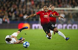 Manchester United's Antonio Valencia (right) and Valencia's Antonio Toni Lato battle for the ball