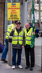 Pictured: Gerry McCann and colleague supporting the workers.<br />