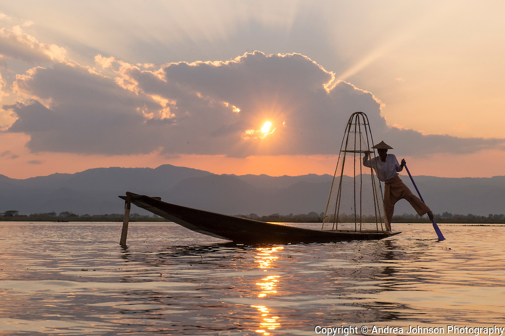 Fisherman on Inle Lake at sunrise, Inle Lake, Burma