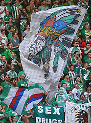 04-08-2015 NED: UEFA CL qualifying AFC Ajax - Rapid Wien, Amsterdam<br /> Ajax is al in de derde voorronde van de Champions League uitgeschakeld. Rapid Wien bleek een niet te nemen horde. Na de 2-2 in Wenen waren de Oostenrijkers in de Arena met 3-2 te sterk / Support voor Rapid Wien, vlaggen