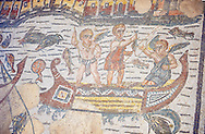 Detail of cupids fishing from a boat, a Roman Mosaic from the Room of The Fishing Cupids, room 24, at the Villa Romana del Casale which containis the richest, largest and most complex collection of Roman mosaics in the world. Constructed in the first quarter of the 4th century AD. Sicily, Italy. A UNESCO World Heritage Site. .<br /> <br /> If you prefer to buy from our ALAMY PHOTO LIBRARY  Collection visit : https://www.alamy.com/portfolio/paul-williams-funkystock/villaromanadelcasale.html<br /> Visit our ROMAN MOSAIC PHOTO COLLECTIONS for more photos to buy as buy as wall art prints https://funkystock.photoshelter.com/gallery/Roman-Mosaics-Roman-Mosaic-Pictures-Photos-and-Images-Fotos/G00008dLtP71H_yc/C0000q_tZnliJD08