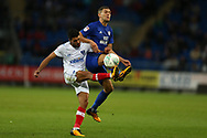 Danny Rose of Portsmouth is challenged by Stuart O'Keefe of Cardiff city (r). Carabao Cup, 1st round match, Cardiff city v Portsmouth at the Cardiff city Stadium in Cardiff, South Wales on Tuesday August 8th 2017.<br /> pic by Andrew Orchard, Andrew Orchard sports photography.