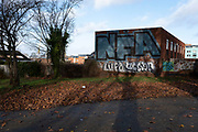 Large NFA graffiti crew letters sprayed on a wall in the inner city area of Highgate on 14th December 2020 in Birmingham, United Kingdom. This is a common signt in Birmingham, with the letters standing for expletive Not F-ing Around.