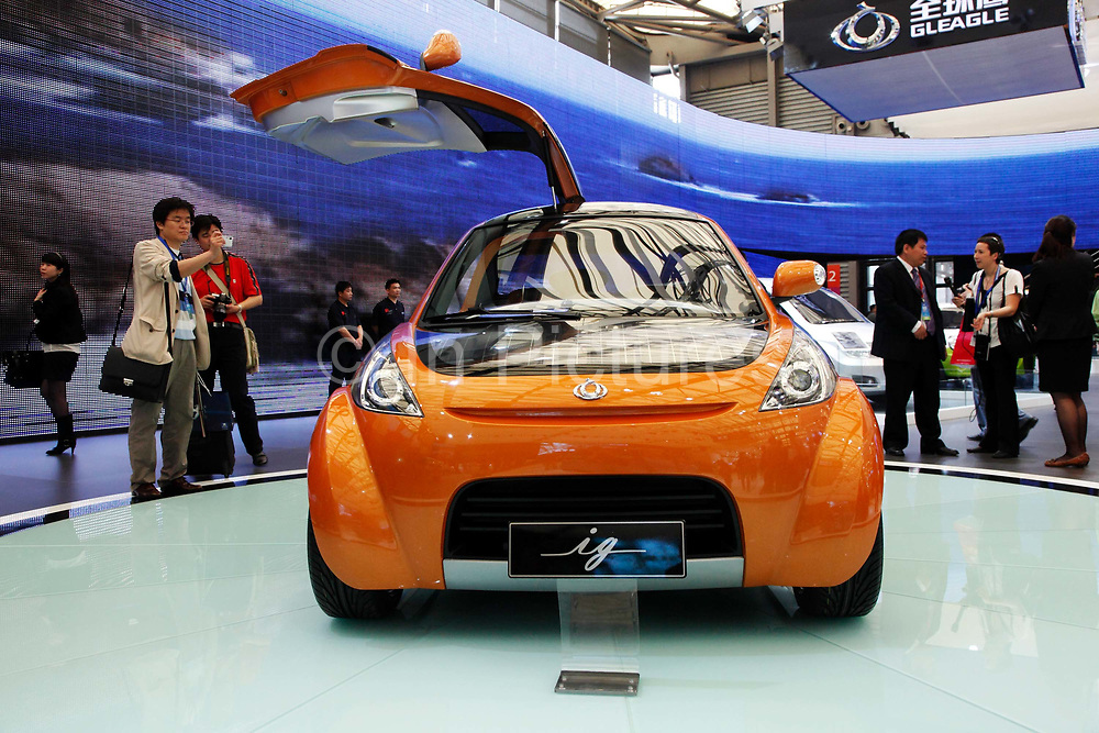 A view of a concept subcompact by Chinese carmaker Geely seen at the Auto Shanghai 2009 in Shanghai, China on 21 April 2009.  Automakers from across the world are increasingly focusing their efforts on China, the largest auto market in the world and the only major market with prospects of high growth rate.