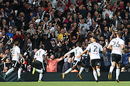 Ryan Sessegnon of Fulham (c) celebrates after he scores his team's first goal. EFL Skybet football league championship match, Fulham v Cardiff city at Craven Cottage in London on Saturday 9th September 2017.<br /> pic by Steffan Bowen, Andrew Orchard sports photography.