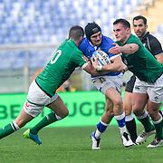 Roma 27/02/2021, Stadio Olimpico<br /> Guinness Six Nations 2021<br /> Italia vs Irlanda <br /> <br /> Carlo Canna placcato da Jonathan Sexton