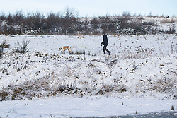 © Licensed to London News Pictures. 28/12/2020. St Helens, UK. A man walks his dog at Lyme and Wood Country park in St Helens as the North West wakes up to snow. Photo credit: Kerry Elsworth/LNP
