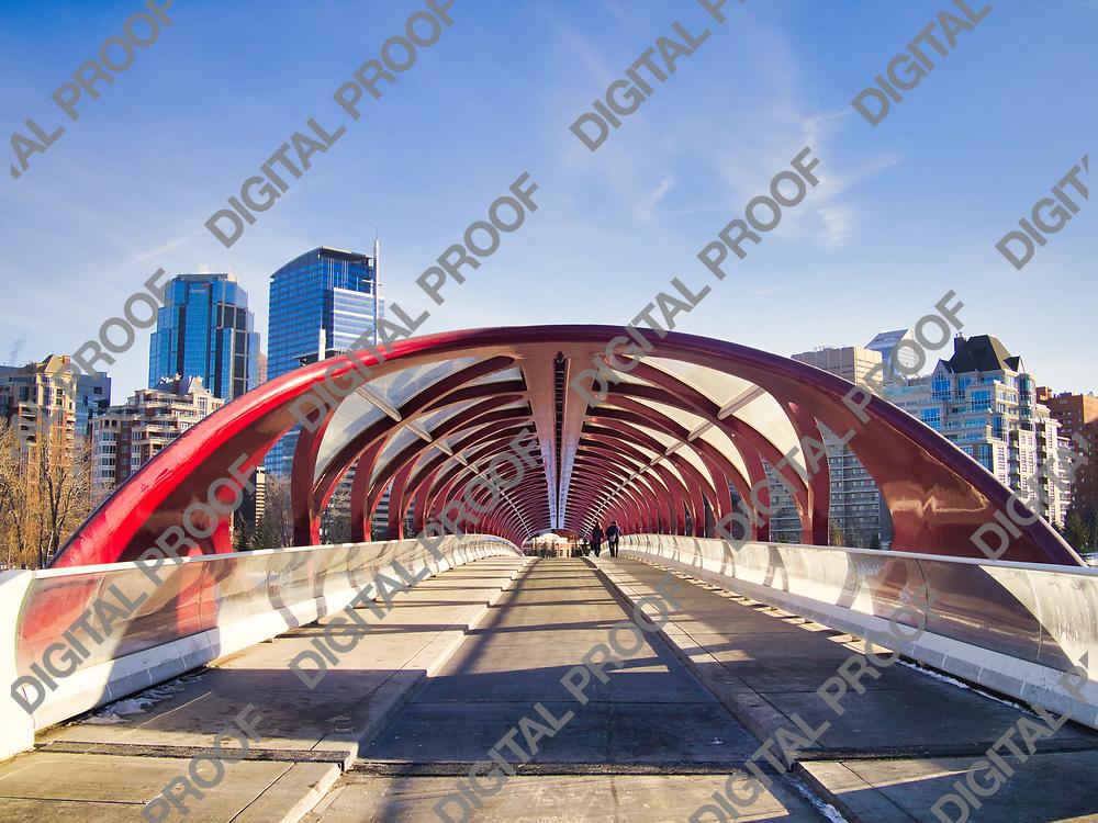 Calgary, Alberta, Canada - January 5, 2013 Peace Bridge interior designed by Spanish architect Santiago Calatrava at morning