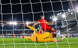 HELSINKI, FINLAND - Thursday, September 3, 2020: Wales' captain Gareth Bale is denied by Finland's goalkeeper Lukáš Hrádecký during the UEFA Nations League Group Stage League B Group 4 match between Finland and Wales at the Helsingin Olympiastadion. (Pic by Jussi Eskola/Propaganda)