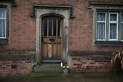 Milk bottle on a doorstep in Lichfield, England, United Kingdom.