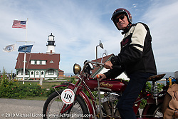 Fred Wacker on his Indian at the start of the Motorcycle Cannonball coast to coast vintage run. Portland, ME. Friday September 7, 2018. Photography ©2018 Michael Lichter.Motorcycle Cannonball coast to coast vintage run. Portland, ME. Friday September 7, 2018. Photography ©2018 Michael Lichter.