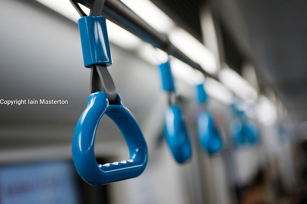 Detail of handstraps in new carriage on subway line in Beijing 2009