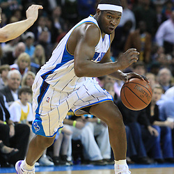 06 February 2009: New Orleans Hornets guard Devin Brown (23) drives with the ball during a 101-92 win by the New Orleans Hornets over the Toronto Raptors at the New Orleans Arena in New Orleans, LA.