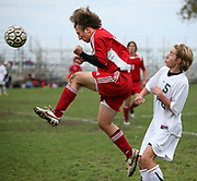 Ryan Hollow of Horlick blocks a pass in front of Case's Travis Nielsen Thursday October 19, 2006 during the Rebels' 5-1 victory in a WIAA Division 1 regional semifinal at Pershing Park in Racine, Wisc.