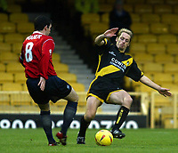 Photo. Chris Ratcliffe<br />Southend United v Bristol Rovers. FA Nationwide 3rd Division. 20/12/2003<br />Graham Hyde of Bristol goes in hard on kevin maher