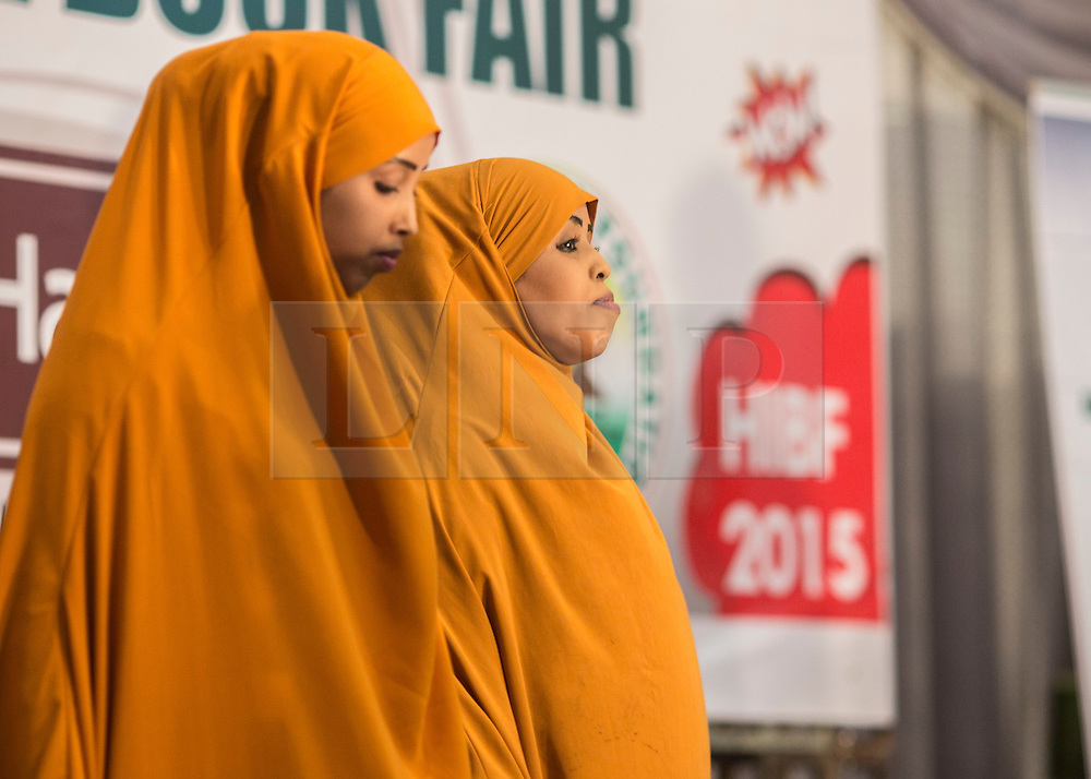 © Licensed to London News Pictures. 4/08/2015. Hargeisa, Somaliland.  Two young female actresses perform a silent play at the 8th International Hargeisa Book Festival in the Republic of Somaliland this week (1 - 6 Aug).   <br /> <br /> Over 700 guests are expected to attend along with renowned poets, writers and musicians from both Somaliland, Nigeria and the UK.  As well as the book fair the Women of the World (WOW) event, hosted by Jude Kelly, the Artistic Director of the Southbank Centre in London was held for the first time in the Horn of Africa.   Photo credit : Alison Baskerville/LNP