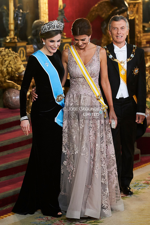 Queen Letizia of Spain, Juliana Awada attended a Gala dinner at the Royal Palace on February 22, 2017 in Madrid, Spain